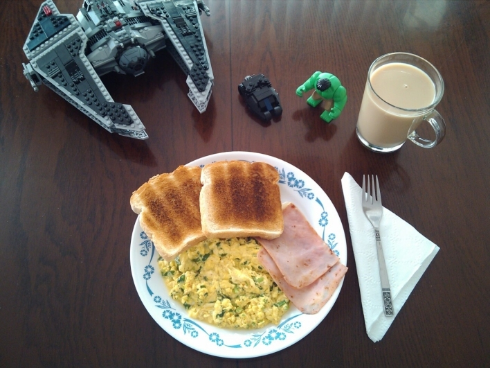 Breakfast with The Hulk, Batman and Darth Vader.